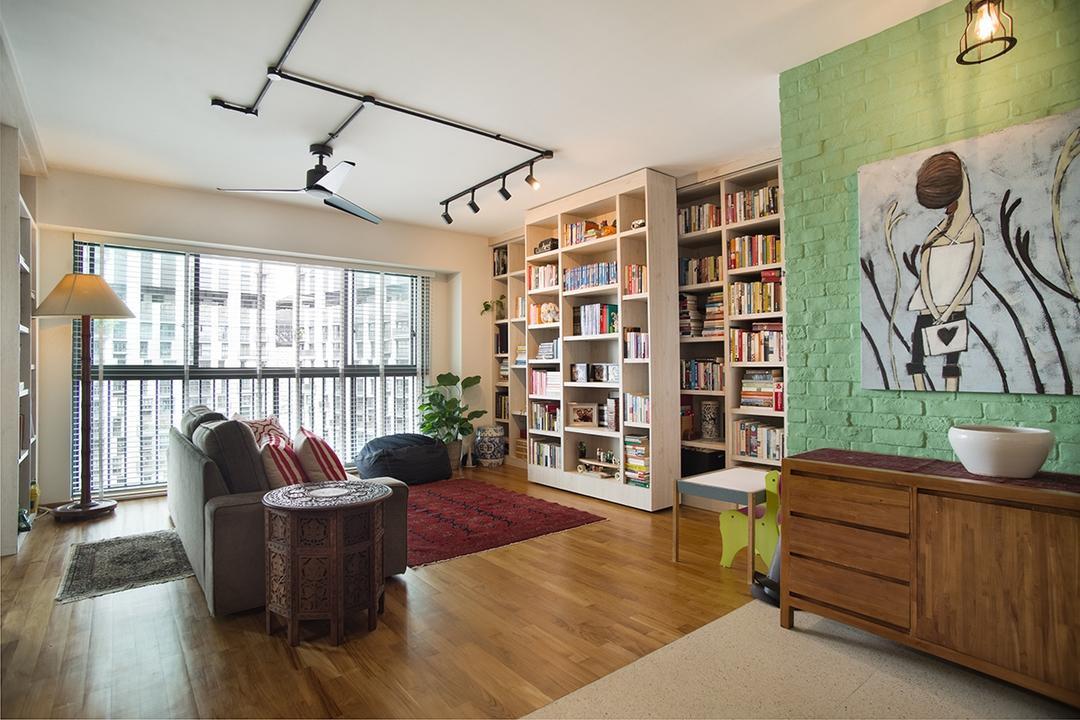 Cantonment, Urban Habitat Design, Contemporary, Retro, Living Room, HDB, Flooring, Armchair, Furniture, Chair, Indoors, Interior Design