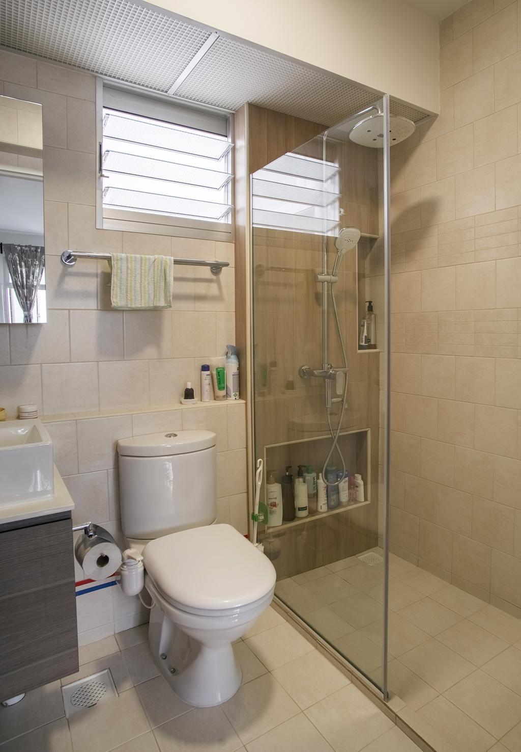 Modern, HDB, Bathroom, Telok Blangah Heights (Block 70C), Interior Designer, Urban Habitat Design, Bottle, Sink, Indoors, Interior Design, Room, Toilet, Cabinet, Furniture, Medicine Chest