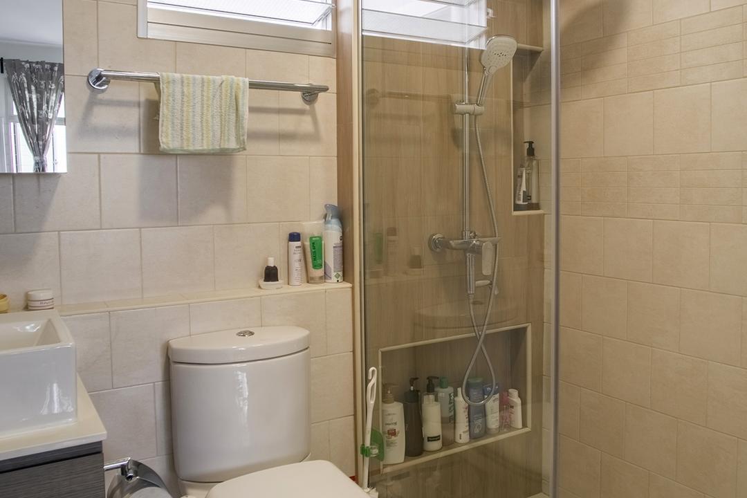 Telok Blangah Heights (Block 70C), Urban Habitat Design, Modern, Bathroom, HDB, Bottle, Sink, Indoors, Interior Design, Room, Toilet, Cabinet, Furniture, Medicine Chest