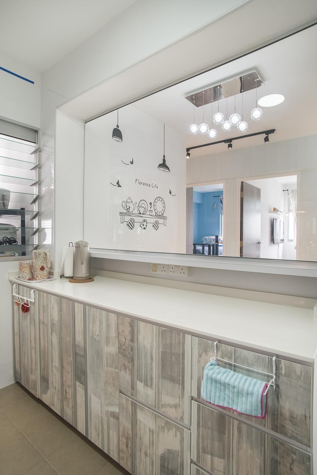 Modern, HDB, Kitchen, Telok Blangah Heights (Block 70C), Interior Designer, Urban Habitat Design, Door, Sliding Door