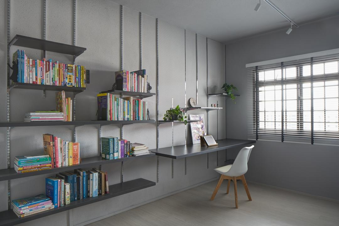 Sengkang, asolidplan, Minimalistic, Study, HDB, Open Shelves, Shelf, Shelves, Wall Shelf, Bookcase, Furniture, Sink