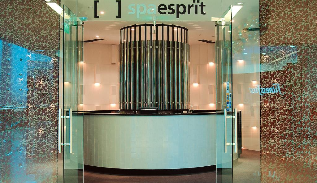 Spa Esprit, Commercial, Architect, Wallflower Architecture + Design, Eclectic, Entrance, Front Door, Counter, Mosaic Tile