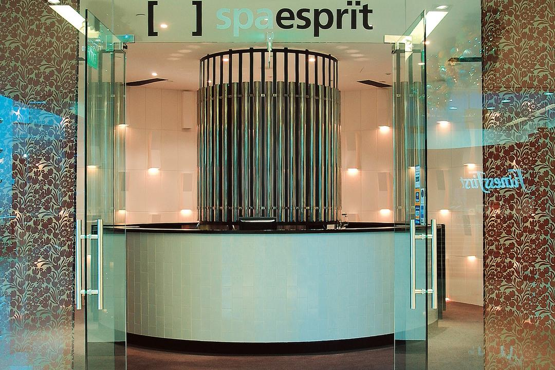 Spa Esprit, Wallflower Architecture + Design, Eclectic, Commercial, Entrance, Front Door, Counter, Mosaic Tile
