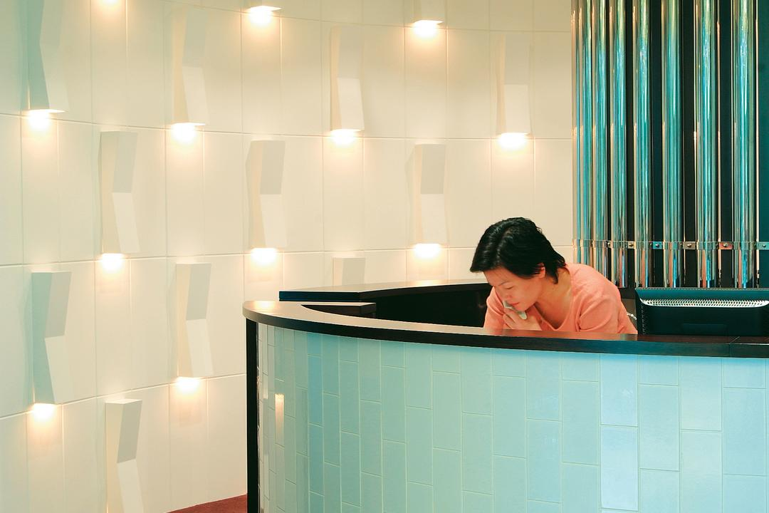 Spa Esprit, Wallflower Architecture + Design, Eclectic, Commercial, Reception, Counter, Entrance, Wall Feature, Lightings, Wall Light, Carpet, Human, People, Person, Furniture