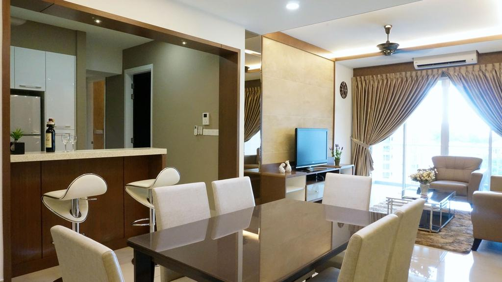 Traditional, Condo, Dining Room, Surin, Interior Designer, Ethnic ID, Chair, Furniture, Couch, Indoors, Interior Design, Room, Conference Room, Meeting Room, Plywood, Wood, Electronics, Monitor, Screen, Tv, Television