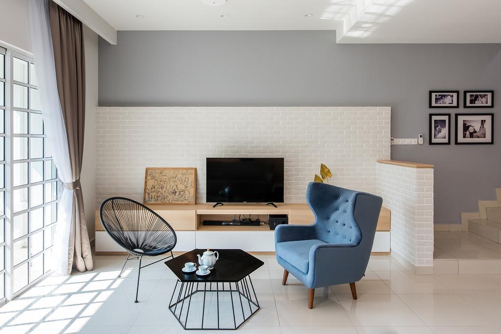 Minimalistic, Landed, Living Room, Stafford, Setia Eco Glades, Interior Designer, Pocket Square, Chair, Furniture