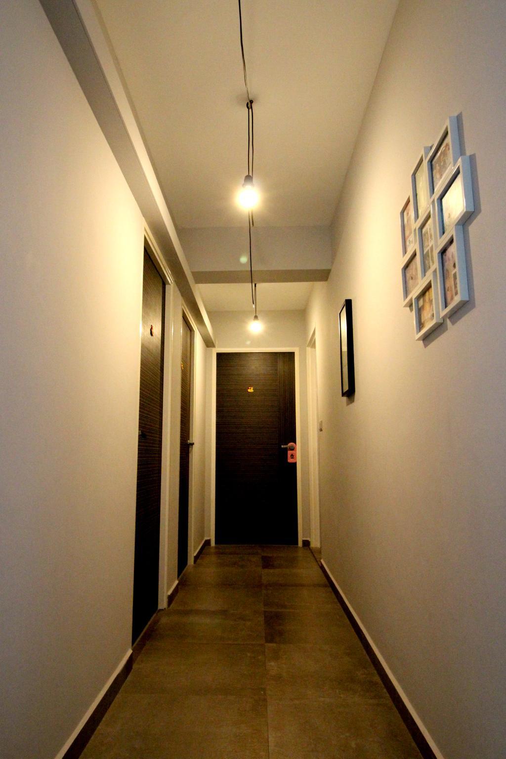 Modern, HDB, Bedroom, Compassvale Crescent, Interior Designer, Aestherior, Contemporary, Elevator, Corridor