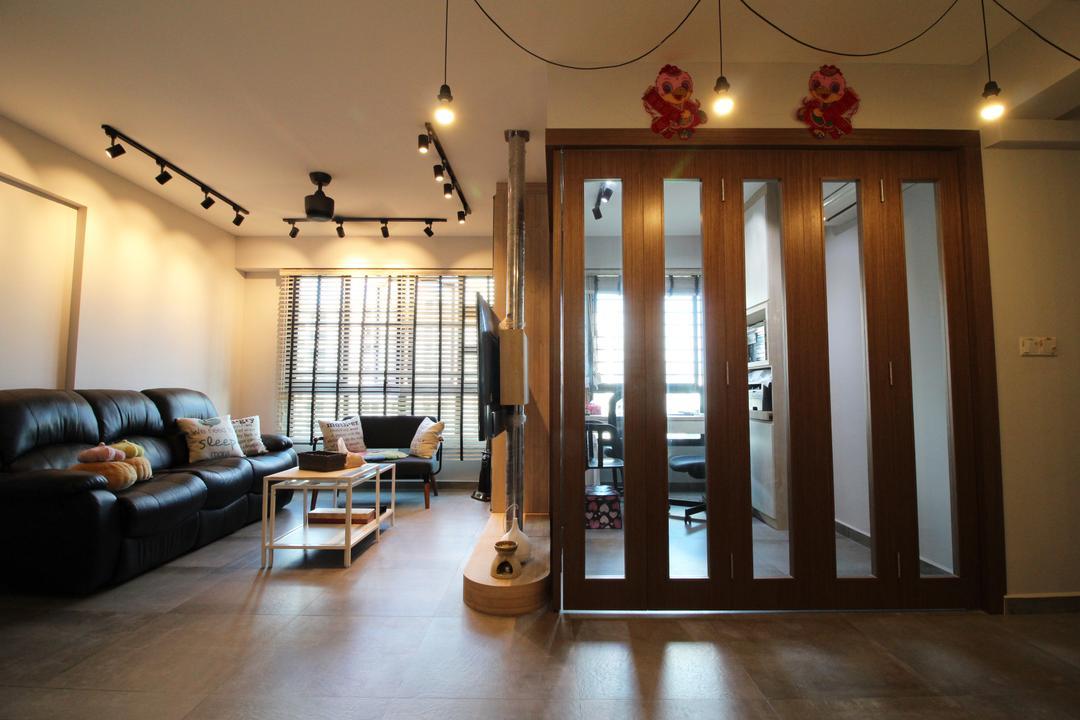 Compassvale Crescent, Aestherior, Modern, Contemporary, Living Room, HDB, Couch, Furniture, Dining Room, Indoors, Interior Design, Room, Flooring, Lighting, Door, Sliding Door, Waiting Room