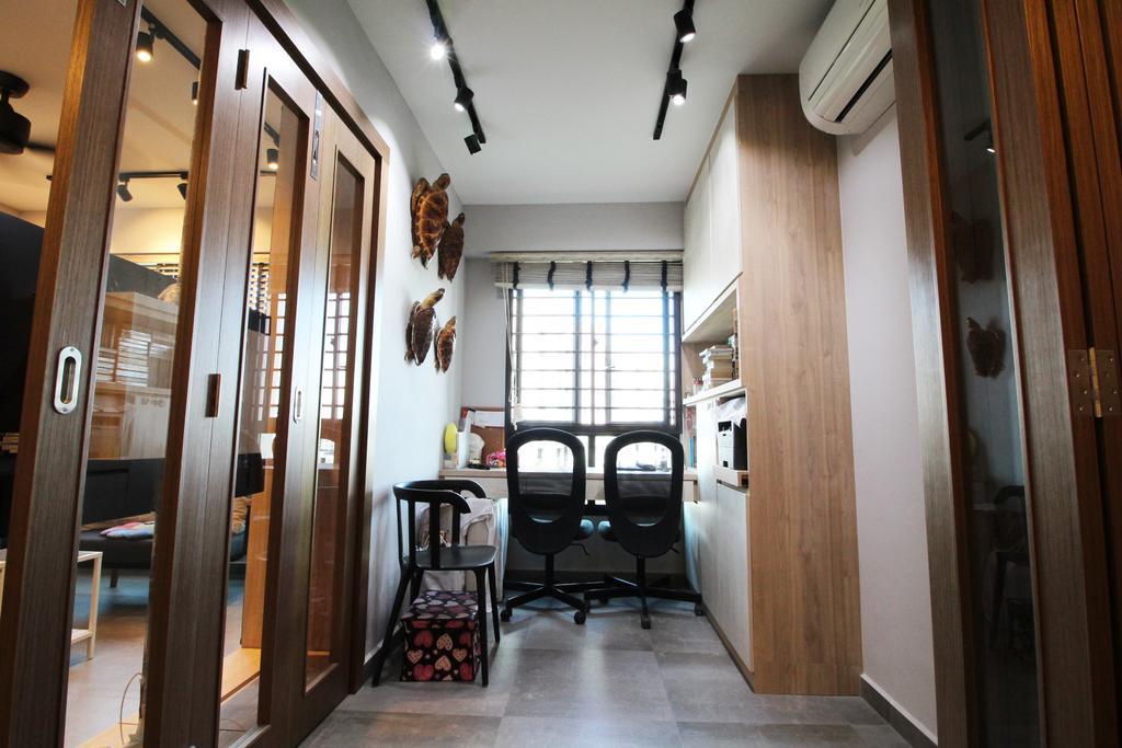 Modern, HDB, Study, Compassvale Crescent, Interior Designer, Aestherior, Contemporary