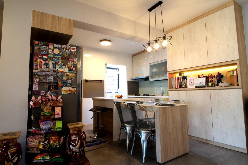 Modern, HDB, Dining Room, Compassvale Crescent, Interior Designer, Aestherior, Contemporary, Appliance, Electrical Device, Fridge, Refrigerator, Oven