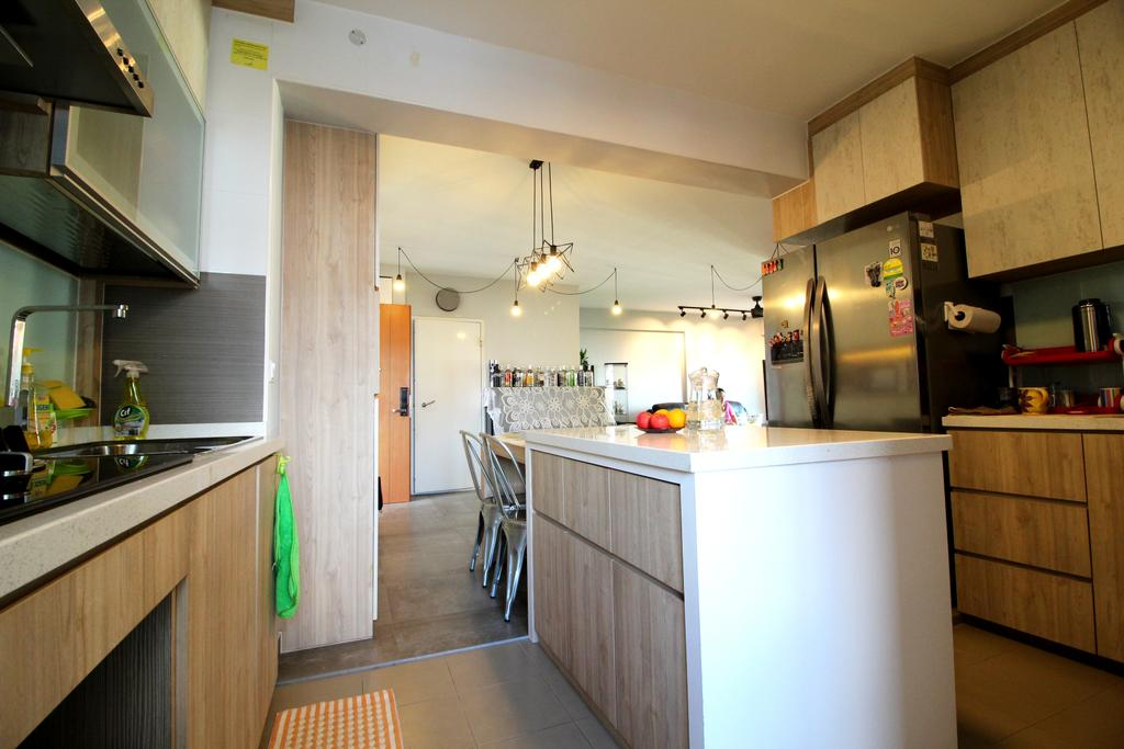 Modern, HDB, Kitchen, Compassvale Crescent, Interior Designer, Aestherior, Contemporary, Indoors, Interior Design, Room, Building, Housing, Loft, Appliance, Electrical Device, Fridge, Refrigerator, Dishwasher