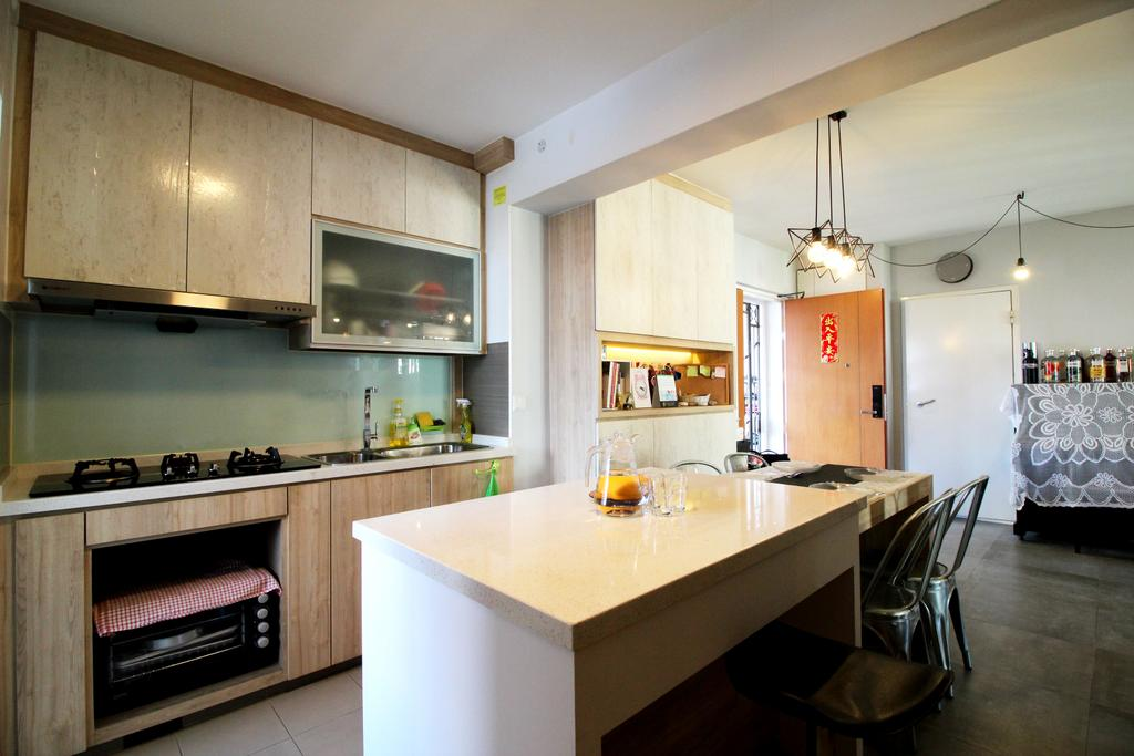 Modern, HDB, Kitchen, Compassvale Crescent, Interior Designer, Aestherior, Contemporary, Light Fixture, Indoors, Interior Design, Room, Building, Housing, Loft, Chair, Furniture, Dining Table, Table, Appliance, Electrical Device, Oven
