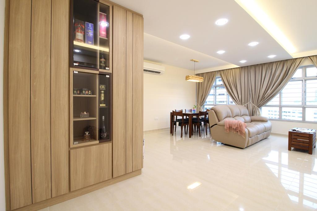 Modern, HDB, Living Room, Fajar Road, Interior Designer, Aestherior, Furniture, Table, Flooring, Dining Table, Indoors, Room
