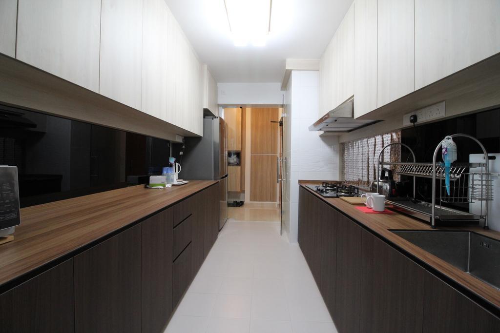 Modern, HDB, Kitchen, Fajar Road, Interior Designer, Aestherior, Building, Housing, Indoors, Loft, Interior Design, Room, Plywood, Wood