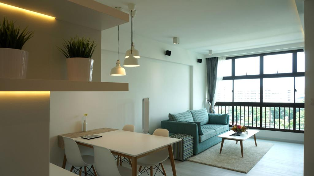 Scandinavian, Apartment, Living Room, Eunos Court, Interior Designer, Ethnic ID, Couch, Furniture, Flora, Jar, Plant, Potted Plant, Pottery, Vase, Dining Table, Table, Chair, Dining Room, Indoors, Interior Design, Room