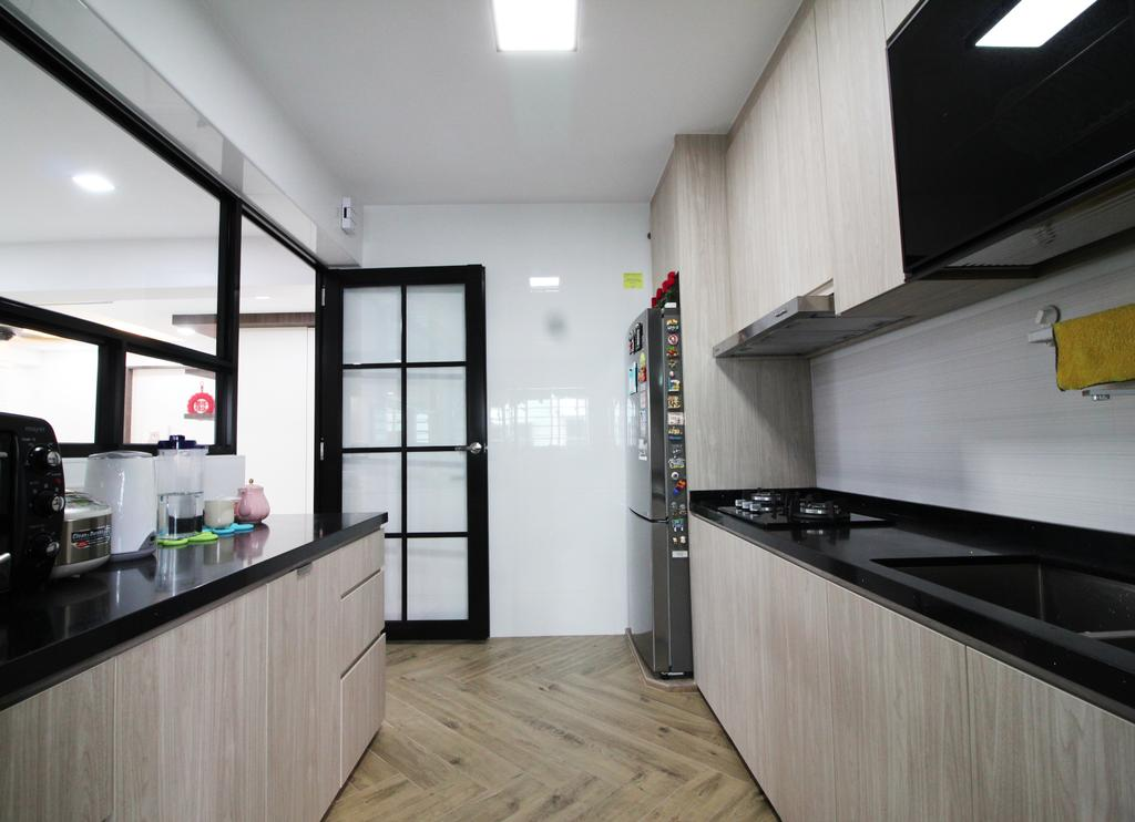 Modern, HDB, Kitchen, Rivervale Crescent, Interior Designer, Aestherior, Traditional, Building, Housing, Indoors, Loft, Interior Design, Room