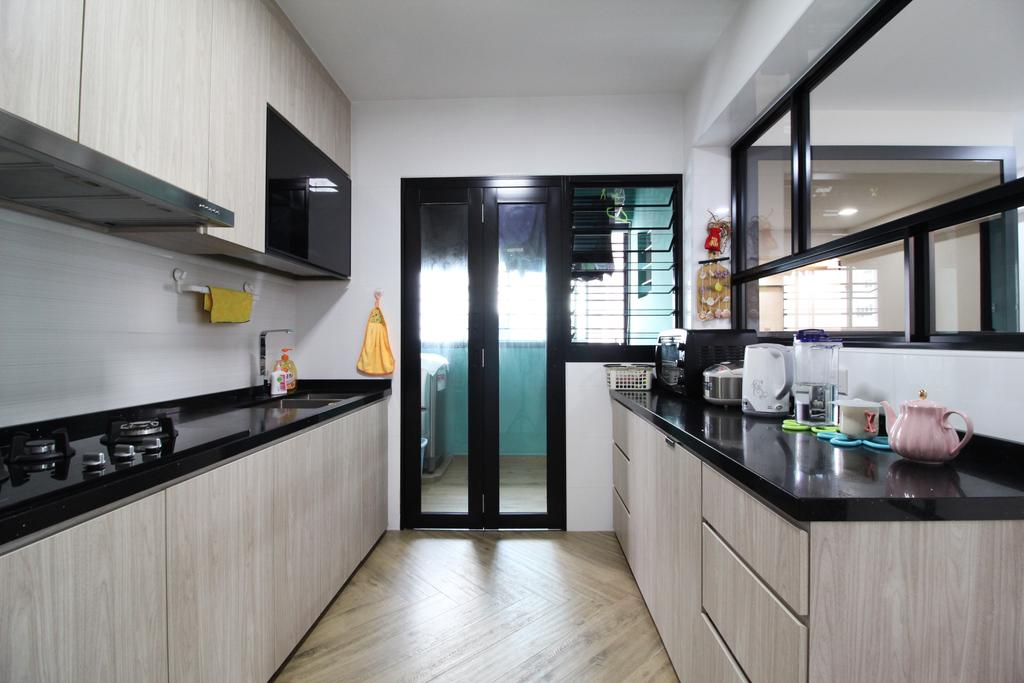 Modern, HDB, Kitchen, Rivervale Crescent, Interior Designer, Aestherior, Traditional, Building, Housing, Indoors, Loft