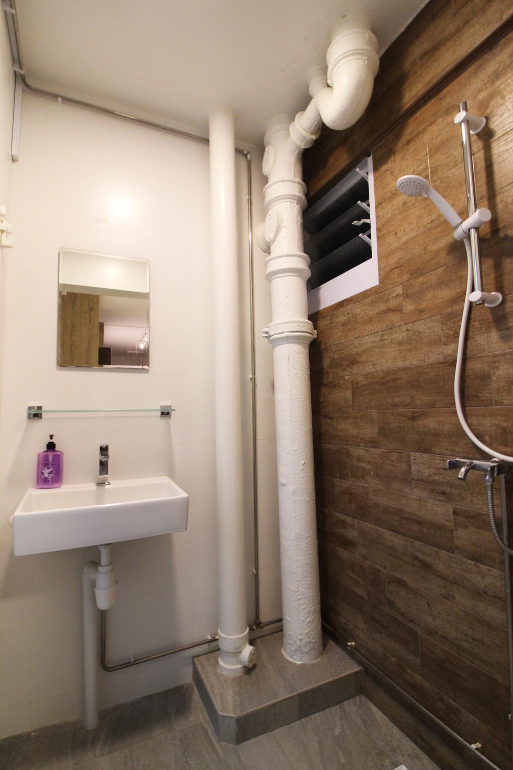 Contemporary, HDB, Bathroom, Upper Cross Street, Interior Designer, Aestherior, Modern, Sink, Plumbing, Shelf