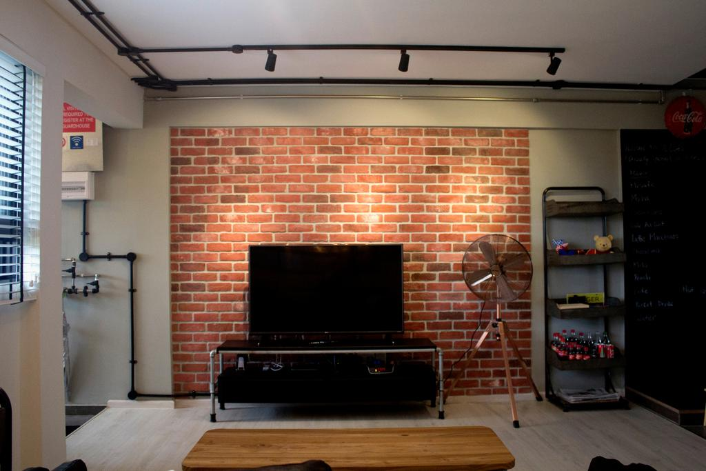 Industrial, HDB, Living Room, Yishun Ring Road, Interior Designer, Aestherior, Fireplace, Hearth, Blackboard, Brick, Arch, Arched, Architecture, Building, Vault Ceiling