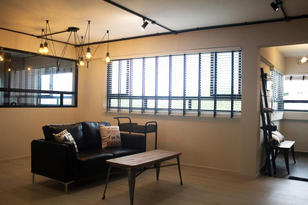 Industrial, HDB, Living Room, Yishun Ring Road, Interior Designer, Aestherior, Bench, Chair, Furniture, Couch, Building, Housing, Indoors, Loft