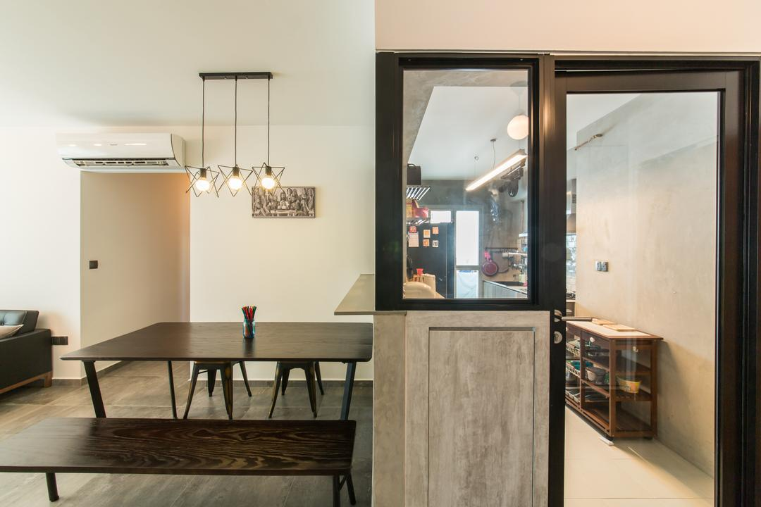 Chai Chee (Block 807B), Voila, Industrial, Dining Room, HDB, Entrance, Kitchen Entrance, Door, Black Frame, Dining Table, Furniture, Table, Indoors, Interior Design, Room, Bench, Sliding Door, Building, Housing