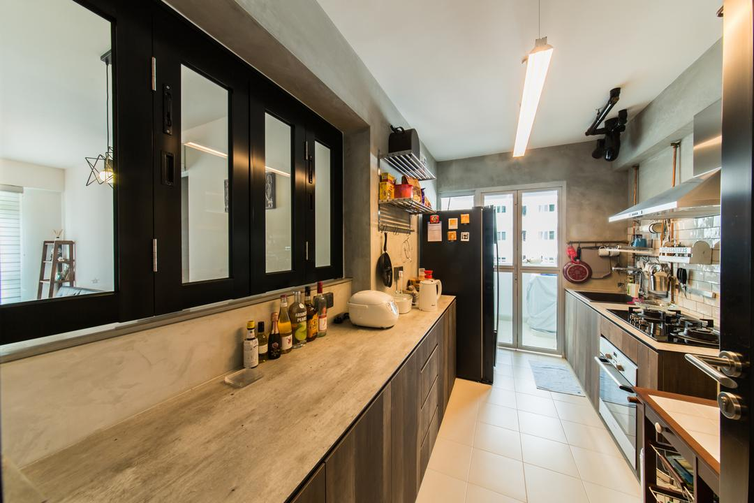 Chai Chee (Block 807B), Voila, Industrial, Kitchen, HDB, Sliding Window, Window, Counter, Cement Counter, Cement Screed, Surface, Preparation Area, Workspace, Tiles, Service Yard, Appliance, Electrical Device, Oven, Plywood, Wood, Indoors, Interior Design, Dining Room, Room
