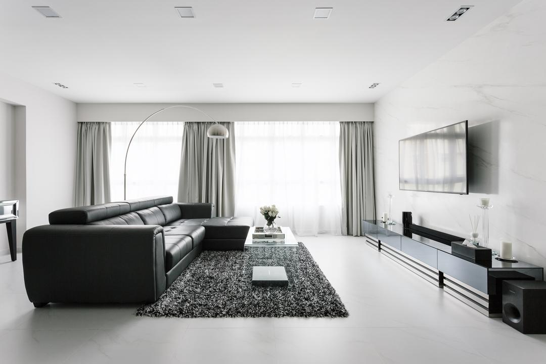 Sumang Walk, Corazon Interior, Modern, Living Room, HDB, Monochrome, Modern Luxury, Bright, Grey, Gray, Spacious, Airy, Bright And Airy, Coffee Table, Furniture, Table, Indoors, Room