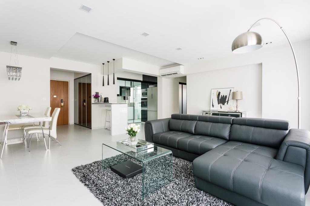 Modern, HDB, Living Room, Sumang Walk, Interior Designer, Corazon Interior, Arc Lamp, Floor Lamp, Big Lamp, Grey Sofa, Couch, Furniture, Dining Table, Table, Indoors, Room, Lamp