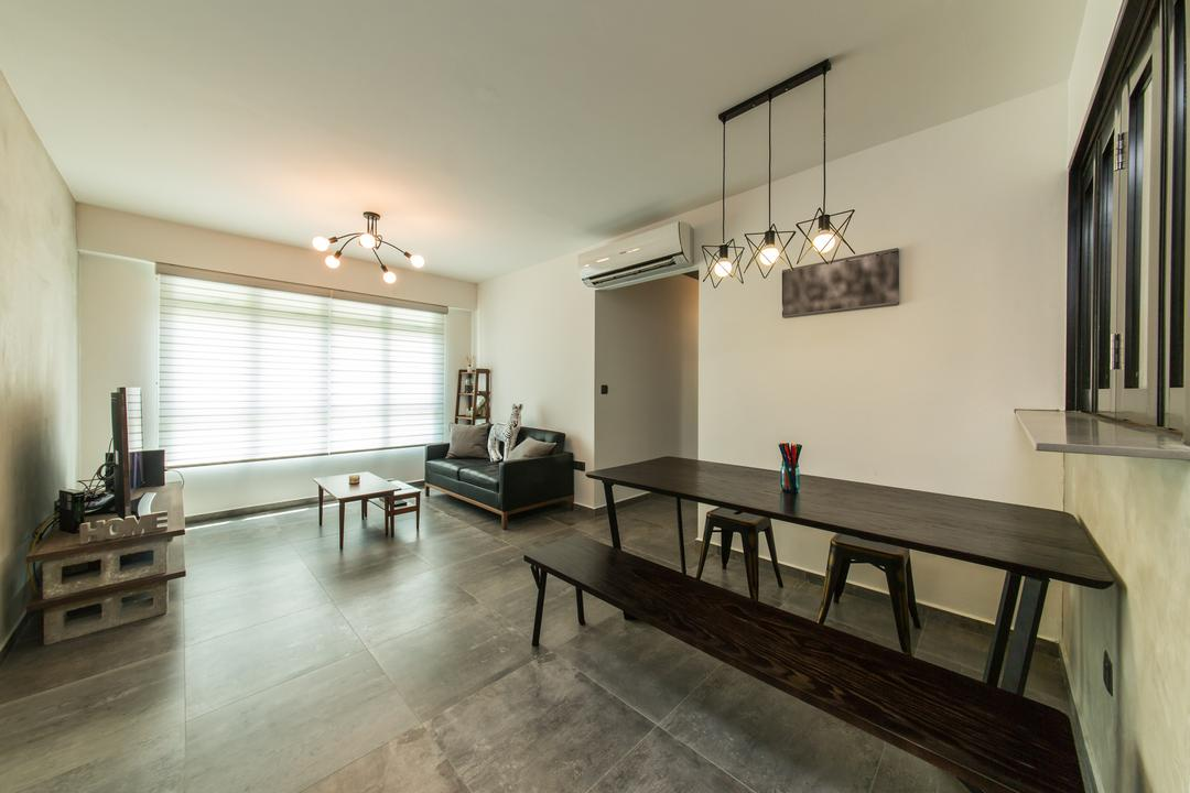 Chai Chee (Block 807B), Voila, Industrial, Living Room, HDB, Bench, Plain, Simple, Monochrome, Tiles, Industrial Lightings, Blinds, Exposed Bulbs, Sofa, Spacious, Clean, Dining Table, Furniture, Table
