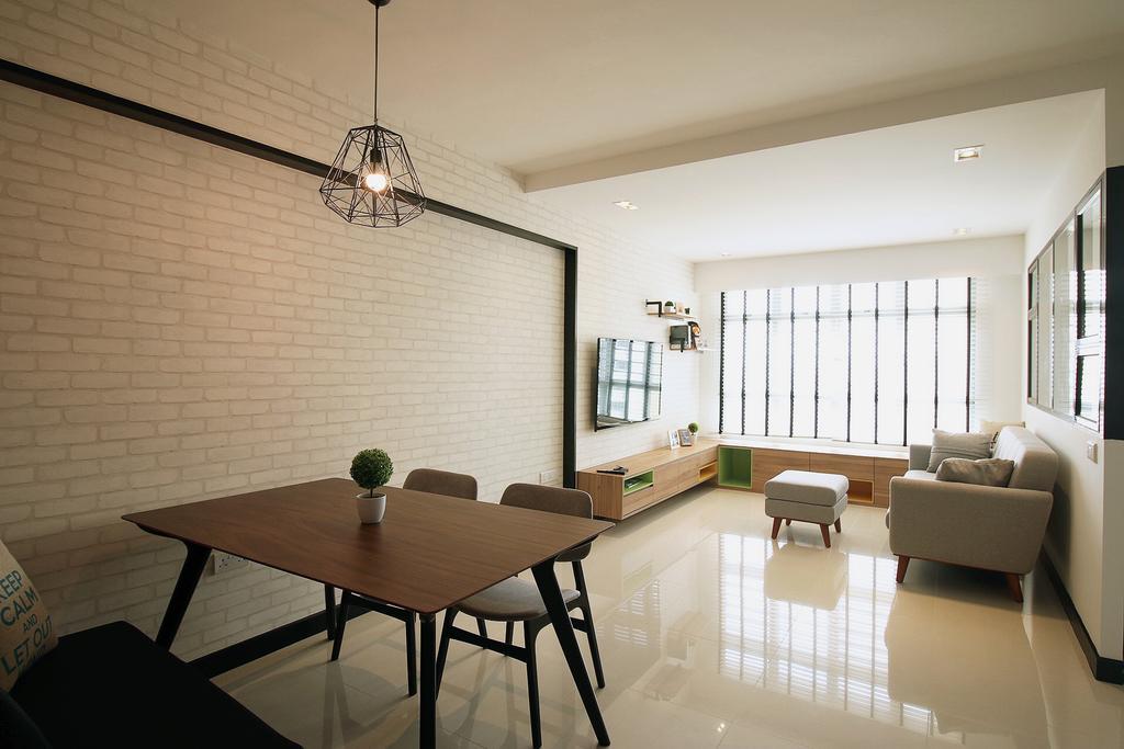 Scandinavian, HDB, Dining Room, Fajar Road (Block 443C), Interior Designer, ChanInteriors, Indoors, Interior Design, Room, Light Fixture, Chair, Furniture, Dining Table, Table