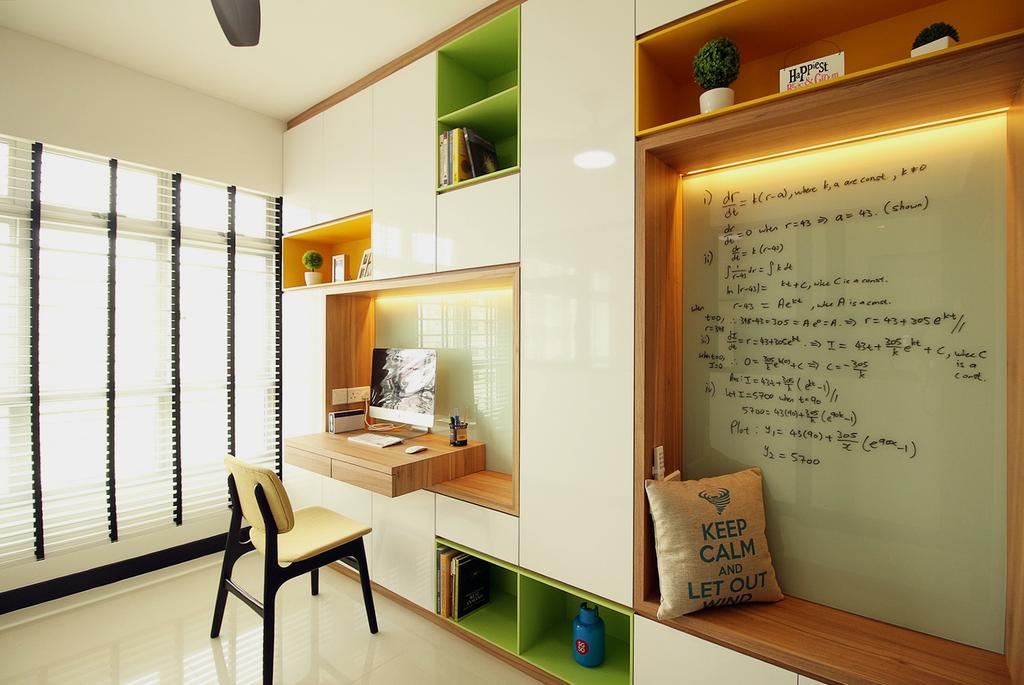 Scandinavian, HDB, Study, Fajar Road (Block 443C), Interior Designer, ChanInteriors, Indoors, Interior Design, Dining Table, Furniture, Table