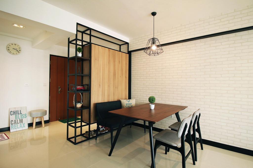 Scandinavian, HDB, Dining Room, Fajar Road (Block 443C), Interior Designer, ChanInteriors, Dining Table, Furniture, Table, Indoors, Interior Design, Room