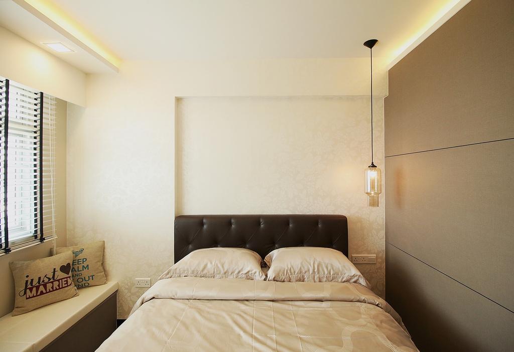Scandinavian, HDB, Bedroom, Fajar Road (Block 443C), Interior Designer, ChanInteriors, Indoors, Interior Design, Room, Bed, Furniture, Couch