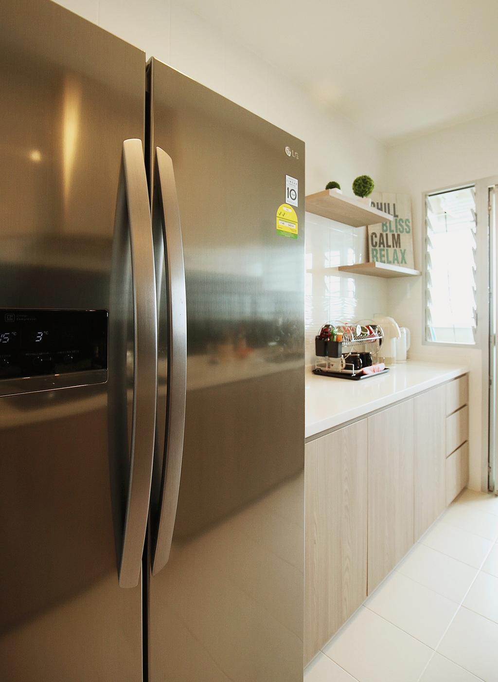 Scandinavian, HDB, Kitchen, Fajar Road (Block 443C), Interior Designer, ChanInteriors, Shelf