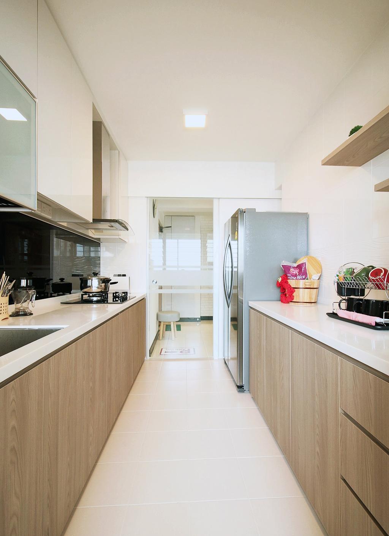 Scandinavian, HDB, Kitchen, Fajar Road (Block 443C), Interior Designer, ChanInteriors, Indoors, Interior Design, Room, Appliance, Electrical Device, Fridge, Refrigerator, Building, Housing, Loft