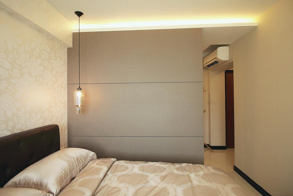 Scandinavian, HDB, Bedroom, Fajar Road (Block 443C), Interior Designer, ChanInteriors, Building, Housing, Indoors, Bed, Furniture, Interior Design, Room