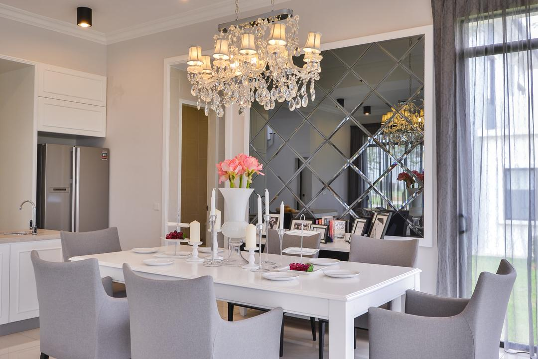 Setia Ecohill, SQFT Space Design Management, Modern, Contemporary, Landed, Dining Room, Indoors, Interior Design, Room, Chandelier, Lamp, Dining Table, Furniture, Table, Flora, Jar, Plant, Potted Plant, Pottery, Vase