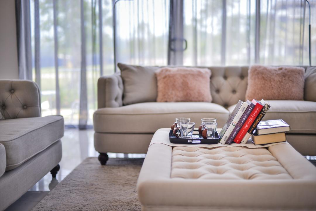 Setia Ecohill, SQFT Space Design Management, Modern, Contemporary, Landed, Couch, Furniture, Cushion, Home Decor, Book, Chair, Indoors, Interior Design, Living Room, Room