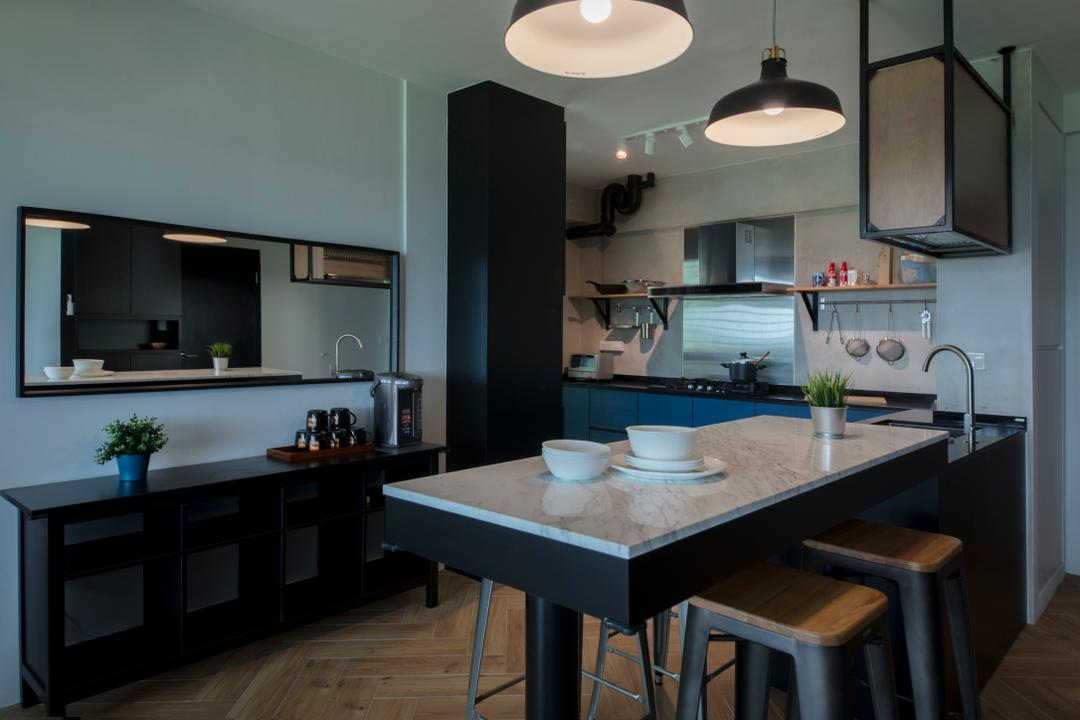 Sumang Lane, Edge Interior, Eclectic, Kitchen, HDB, Counter, Peninsula, Extended Counter, Marble Counter, Kitchen Counter, Open Concept, Furniture, Sideboard, Door, Sliding Door, Indoors, Interior Design, Room, Dining Room, Dining Table, Table, Chair
