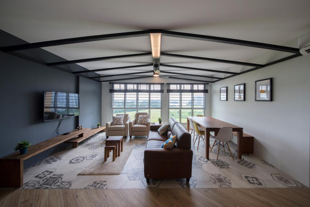 Sumang Lane, Edge Interior, Eclectic, Living Room, HDB, Beam, Couch, Furniture, Dining Table, Table, Architecture, Building, Skylight, Window