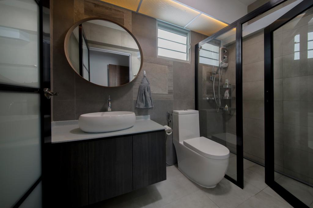 Eclectic, HDB, Bathroom, Sumang Lane, Interior Designer, Edge Interior, Indoors, Interior Design, Room