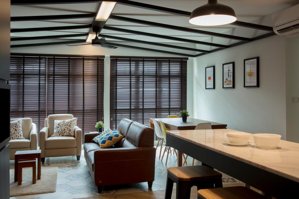 Eclectic, HDB, Living Room, Sumang Lane, Interior Designer, Edge Interior, Couch, Furniture, Dining Table, Table, Dining Room, Indoors, Interior Design, Room, Chair
