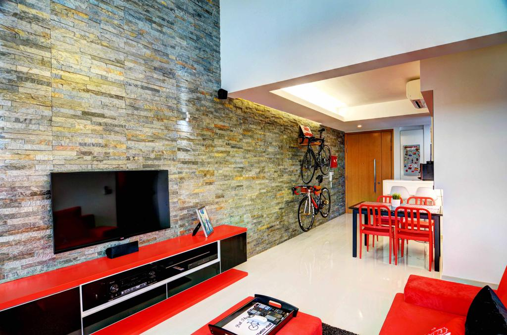 Eclectic, Condo, Living Room, The Prive, Architect, FOMA Architects, Dining Table, Furniture, Table, Bicycle, Bike, Transportation, Vehicle