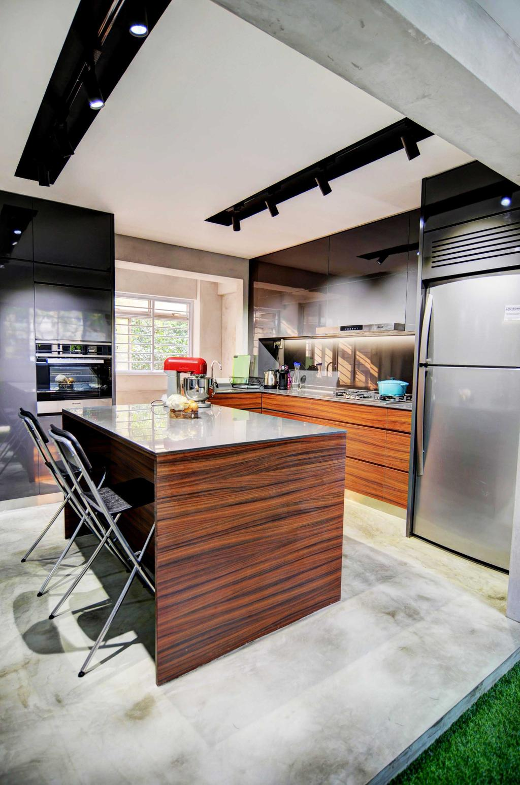 Modern, HDB, Kitchen, Whampoa (Block 112), Architect, FOMA Architects, Appliance, Electrical Device, Fridge, Refrigerator, Indoors, Interior Design, Room, Chair, Furniture, Oven