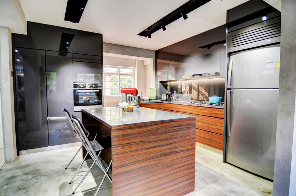Modern, HDB, Kitchen, Whampoa (Block 112), Architect, FOMA Architects, Appliance, Electrical Device, Fridge, Refrigerator, Chair, Furniture, Indoors, Interior Design, Room