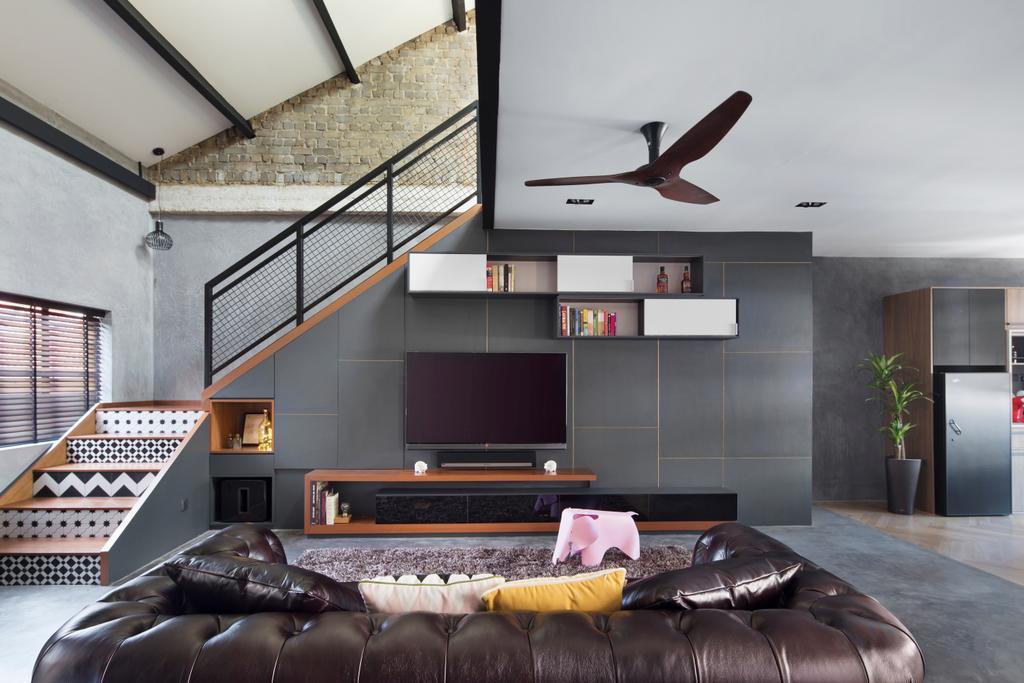 Industrial, HDB, Living Room, Joo Chiat Road (Block 257B), Interior Designer, Prozfile Design, Building, Housing, Indoors, Loft