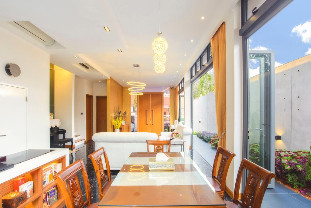 Contemporary, Landed, Dining Room, 57 Seraya Crescent, Architect, FOMA Architects, Gutter, Banister, Handrail, Indoors, Room, Interior Design