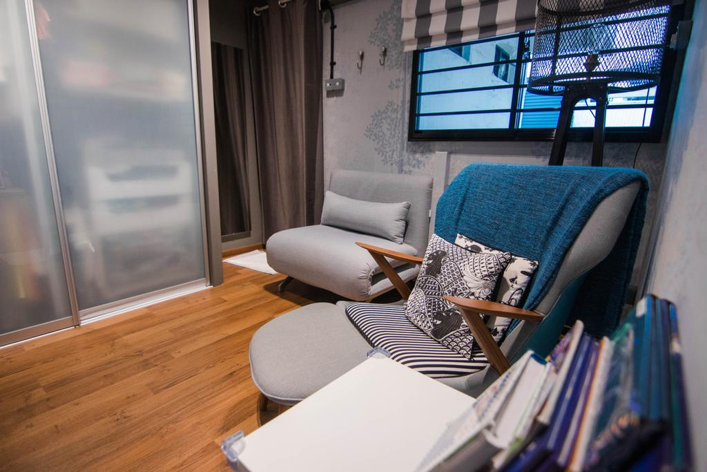 Minimalistic, HDB, Living Room, Marine Drive, Interior Designer, 9 Creation, Eclectic, Chair, Furniture, Couch, Hardwood, Wood, Building, Housing, Indoors