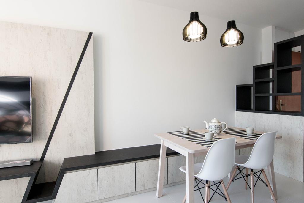 Scandinavian, HDB, Dining Room, Pasir Ris Street 51 (Block 525C), Interior Designer, 9 Creation, Chair, Furniture, Triangle, Dining Table, Table, Indoors, Interior Design, Room