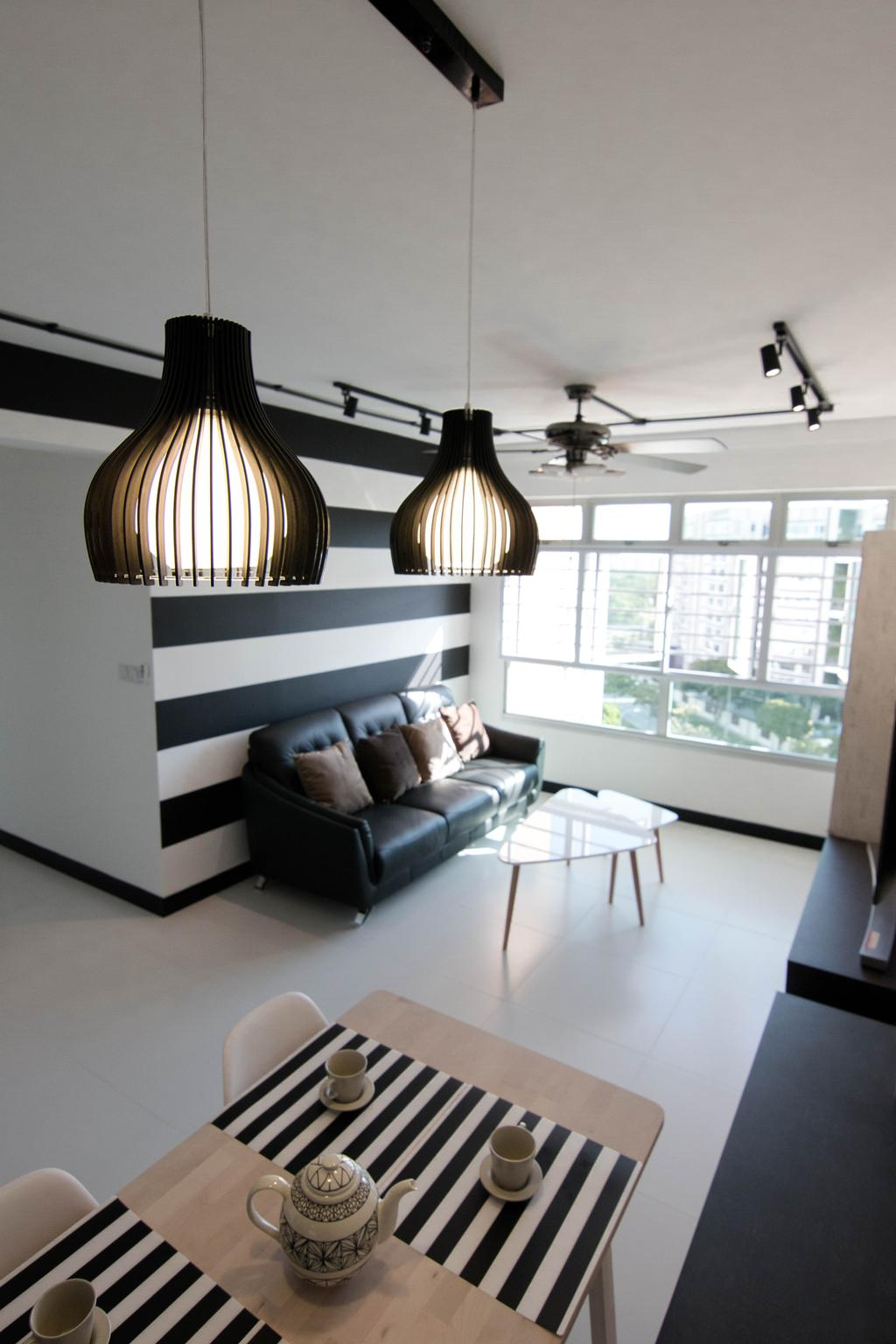 Scandinavian, HDB, Living Room, Pasir Ris Street 51 (Block 525C), Interior Designer, 9 Creation, Light Fixture, Couch, Furniture, Lighting, Indoors, Interior Design